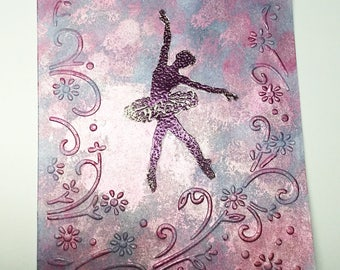 Hand stamped cards - cards for Dancer - Dancing - Sillhouette - Ballerina - Tutu - Congratulations - birthday cards - dance recital cards -