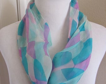 "Lovely Turquoise Pink Soft Sheer Cowl Scarf - 7"" x 15"" - Affordable Scarves!!!"