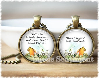Best Friend Gift • Friendship Jewelry • Winnie The Pooh Quote • Long Distance Friendship • Necklace For 2