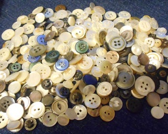 Group of 250 Mixed Vintage Mother of Pearl Buttons-Item# 483