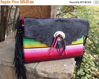 ON SALE Western faux tooled leather and serape blanket fringe clutch