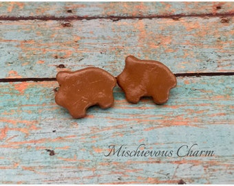 Concha Puerquito Marranito Pig Pan Dulce Mexican Stud Earrings