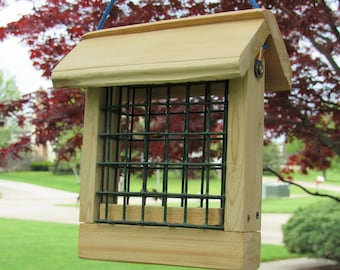 Cedar suet feeder with wire basket