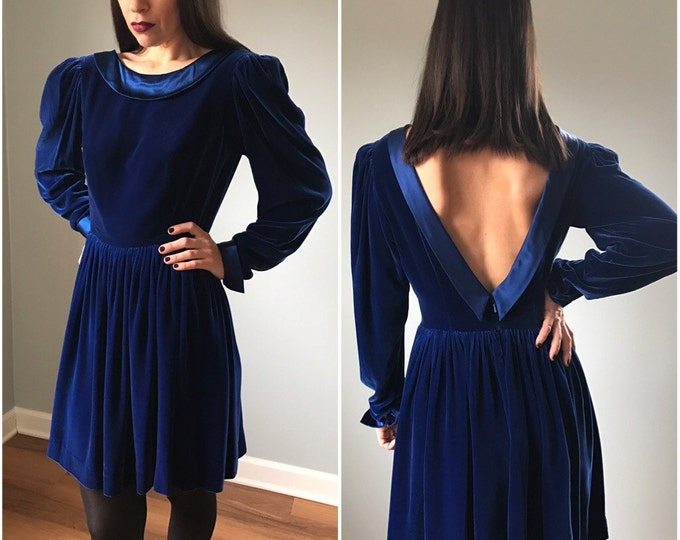 Vintage Cobalt Blue Velvet Peter Pan Dress
