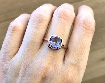Cushion Cut Stackable Ring- Mystic Topaz Square Ring- Rose Gold Gemstone Ring- Blue Purple Stone Ring- Sterling Silver Mystical Ring