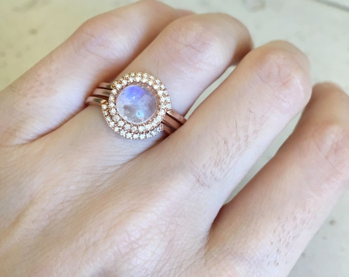 Halo Moonstone Engagement Ring- Rose Gold Moonstone Engagement Ring- Round Shape Moonstone Engagement Ring- Moonstone Engagement Ring Set
