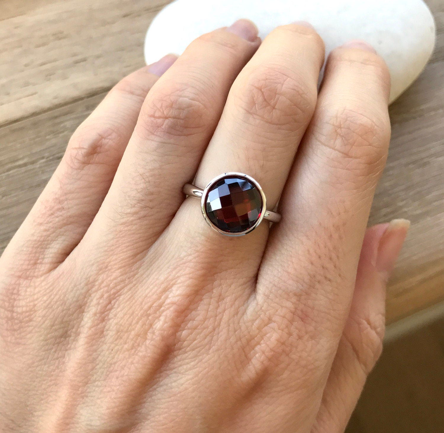round garnet solitaire ring january birthstone ring red. Black Bedroom Furniture Sets. Home Design Ideas