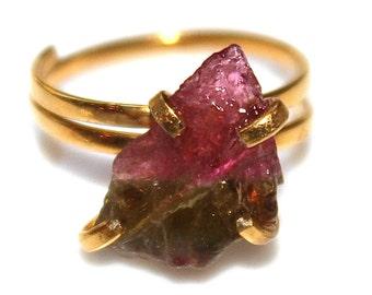 Rustic Watermelon Tourmaline Ring Matte Ring Gold Vermeil Ring Adjustable Ring Watermelon Tourmaline Slice Tourmaline Jewelry Delicate Ring