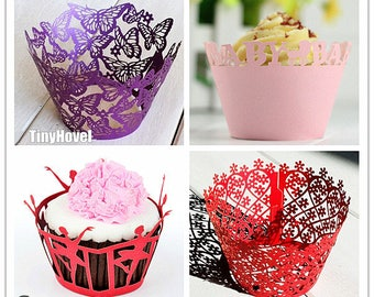 Lace cupcake liner, laser cut cupcake wrapper - Cake Deco, Party Decoration, Packaging-CC010