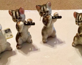 """Miniature 1950s Musical Cats Kittens [4] Animals (all measure less than 2 1/4"""") Made in Japan, Porcelain, Glass, with Bonus Bunny & Mouse"""