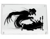 Freddy Krueger Nightmare on Elm Street silhouette hand cut paper craft // handmade framed wall artwork geek art