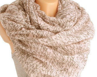 Beige cotton scarf with Brown Letters Infinity Scarf Writing Scroll Scarf Book Scarf Letter Scarf Scarves accessory christmas gift schal