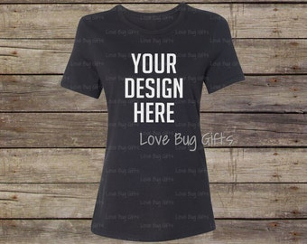 TShirt Mock Up Black Woman's Crew Neck - Short Sleeve Shirt - Add your design to create a mock up - INSTANT Download