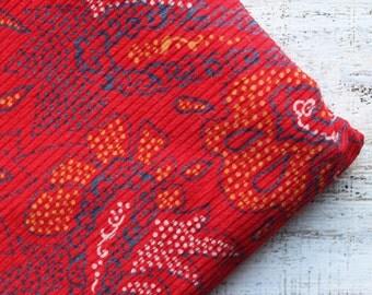 Vintage corduroy fabric 3.24 yards red yellow paisley boho bohemian cotton