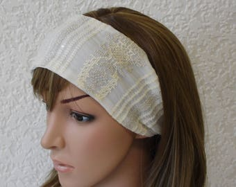 Embroidered headband, hair scarf, yoga headband, women's head scarf, embroidered chiffon headband