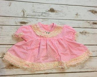 Vintage 60s Dress Baby Girl Sears Swiss Dot Lace Light Pink Party Dress, Ivory, Rose, Bow, Gift for Newborn Baby Girl, 70s, Antique, 15-20lb