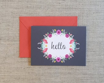 6 Hello or Thank You Greeting Card Sets, Signature Fragrance Collection, Floral, Wreath, Flowers