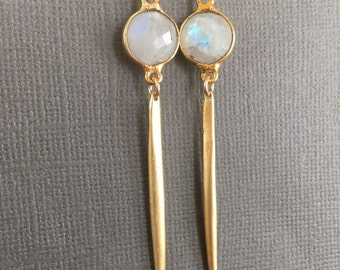 Rainbow Moonstone Long Gold Dangle Earring, Dangling Earrings,Spike Earrings - Long thin Gold Earrings - Needle Earrings - Modern Earrings