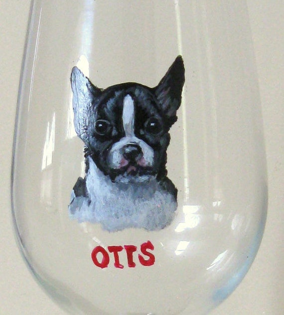 Boston terrier wine glass dog painting pet portrait pet for Wine and paint boston