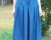 Girls Denim Culottes Modest Long Split Skirt