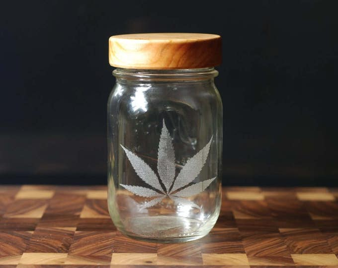 Stash Jar - One Pint - Beautifully Engraved - Custom Sealed Cherry Lid