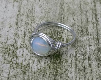 Gemstone ring Moonstone, Boho ring, Hippiestyle, Wire ring