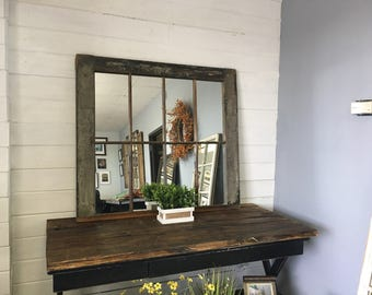 Large Mirror, Window Mirror, Old Window made into a mirror, Old Mirror, mirror, Wall Mirror, Decorative Mirror