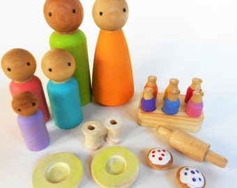 Wood peg doll pretend play set family wooden dolls with cakes dishes drink bottles play food set miniature play set imaginative play