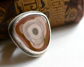 Blooming Rose Royal Imperial Jasper Cabochon Ring - Sterling Silver Cocktail Statement Jewelry - US Size 9