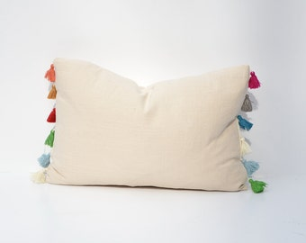 Tassel Trimmed Linen Decorative Throw Pillow Cover