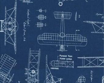 Robert Kaufman Fabrics, Vintage Blueprints, White Airplanes on Indigo