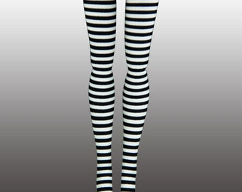 Fashionista, Made to Move, Curvy, Petite, Tall Barbie Doll Stockings - Black & White Micro Stripe - Doll Clothes