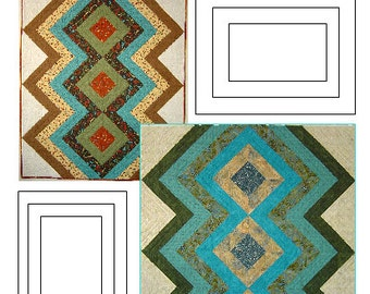 ECHO CANYON quilt pattern by J. Michelle Watts - 3 sizes included. Great beginner quilt. Suitable for large scale prints. Southwestern flair