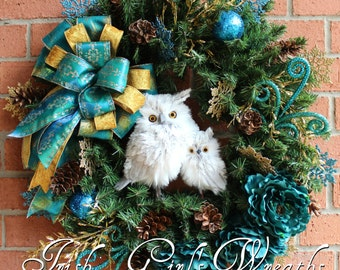 Teal and Gold Winter Owl Family Wreath, Owl Christmas Wreath, Woodland Owl Christmas, Rustic Christmas floral, christmas floral swag