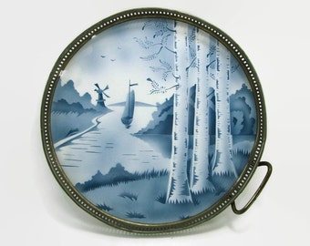 German Porcelain Tray with Pierced Metal Rim, Dutch Scene on Porcelain Serving Tray, Blue and White Porcelain Tile