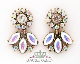 Crystal Fan Wedding Plugs / Gauges. 2g / 6.5mm, 0g / 8mm, 00g / 10mm by GaugeQueenPlugs on Etsy