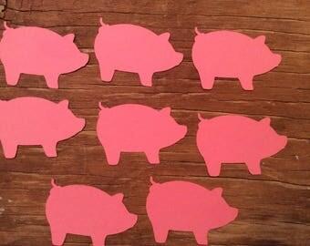 Cute little pink piggies paper die cuts cut outs