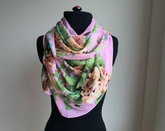Silk Scarf, Neck Silk Scarf, Chiffon Scarf, Flower Scarf, Womens Scarf, Gift for her, Womens Gift, Handmade Scarf