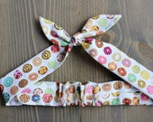 Donut Print Knotted Hair Tie, Rosie Wrap, Headband, Bandana, Hair Scarf, Baby, Toddler, Child, Photo Prop, Rockabilly, Doughnuts, Pastry