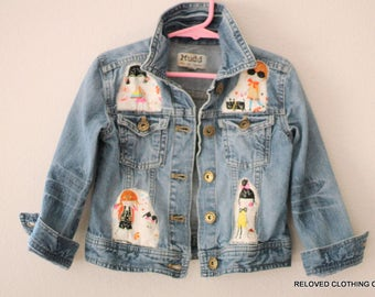 Size 5 Girls Jean Jacket / Embellished Kids Denim Top / Friends Jean Jackets