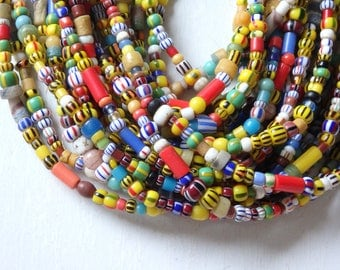 "Authentic African Christmas beads - 21"" strand, handmade glass beads from Ghana, west Africa, African trade beads, assorted glass beads"