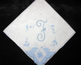 Gift for Bride, Monogrammed Handkerchief Initial F, K, H, D or G Something Blue