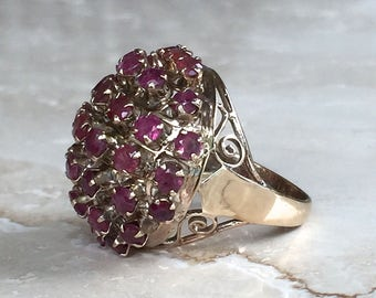 GORGEOUS Vintage Antique 14k Yellow Gold and Rubies Dome, Cluster Ring, Rich Patina, size 5 weighing 6.4 grams