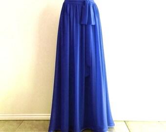 Royal Blue Bridesmaid Skirt. Royal Blue Floor Length Skirt. Long Evening Skirt. Chiffon Skirt.