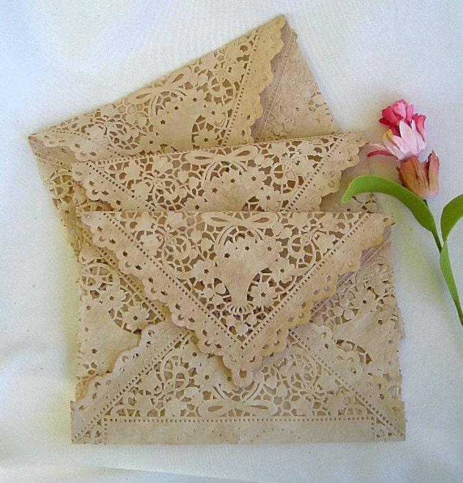Vintage Handmade Wedding Invitations: Vintage Lace Envelopes Wedding Invitation Tea Stain Handmade
