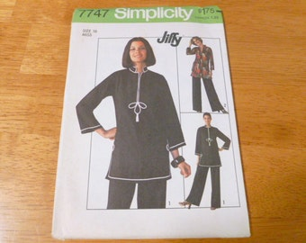 7747 Simplicity Sz 16 Miss Pattern Jiffy Pullover Tunic Pants Vintage 1976 Uncut