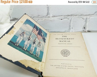ON SALE The Bluejackets' Manual.  Hardback Edition. 1950.  US Navy Instructional Manual.  The Blue Book. Father's Day. Man Cave. Library.