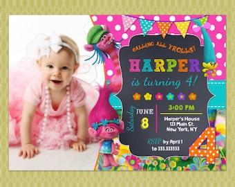 Trolls Invitation, Trolls Party, Trolls Birthday, Trolls,Poppy, Trolls Birthday Invitation, FREE Thank you Card included