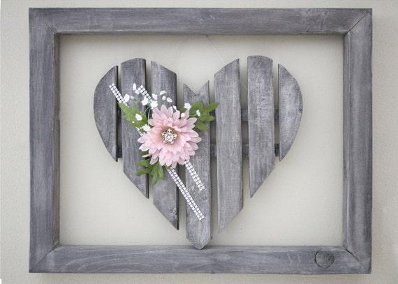 coeur en bois rustique chic avec cadre pour mariage coeur. Black Bedroom Furniture Sets. Home Design Ideas