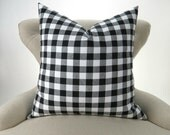 Black Plaid Pillow Cover -MANY SIZES- Check Pattern, Gingham Pillow, Euro Sham, Lumbar, Decorative Throw, Black White Buffalo Premier Prints